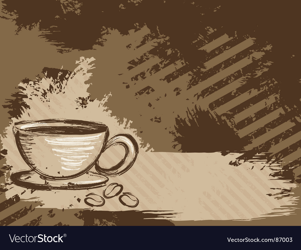 Grunge coffee background horizontal vector