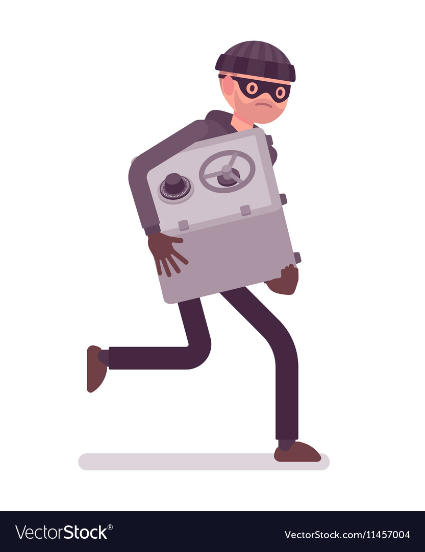 Thief in a black mask stole safe and is running vector