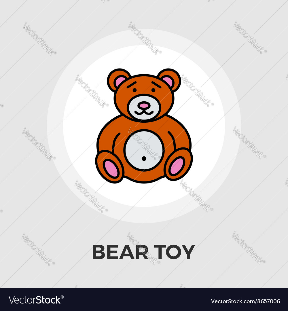 Bear toy flat icon vector