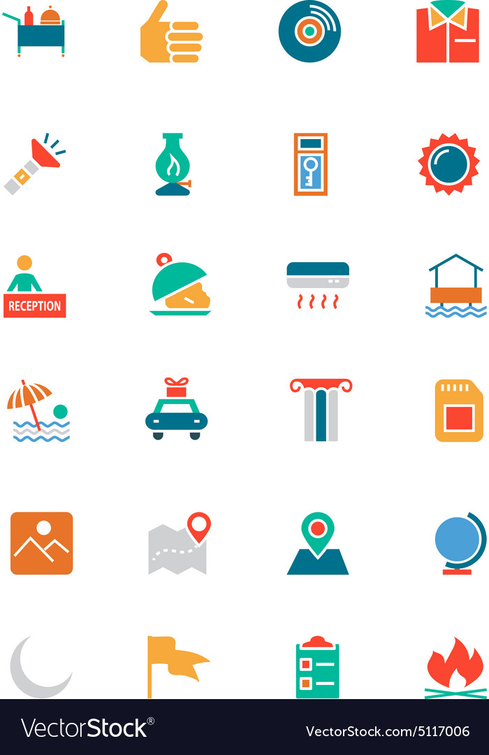 Hotel and restaurant colored icons 10 vector
