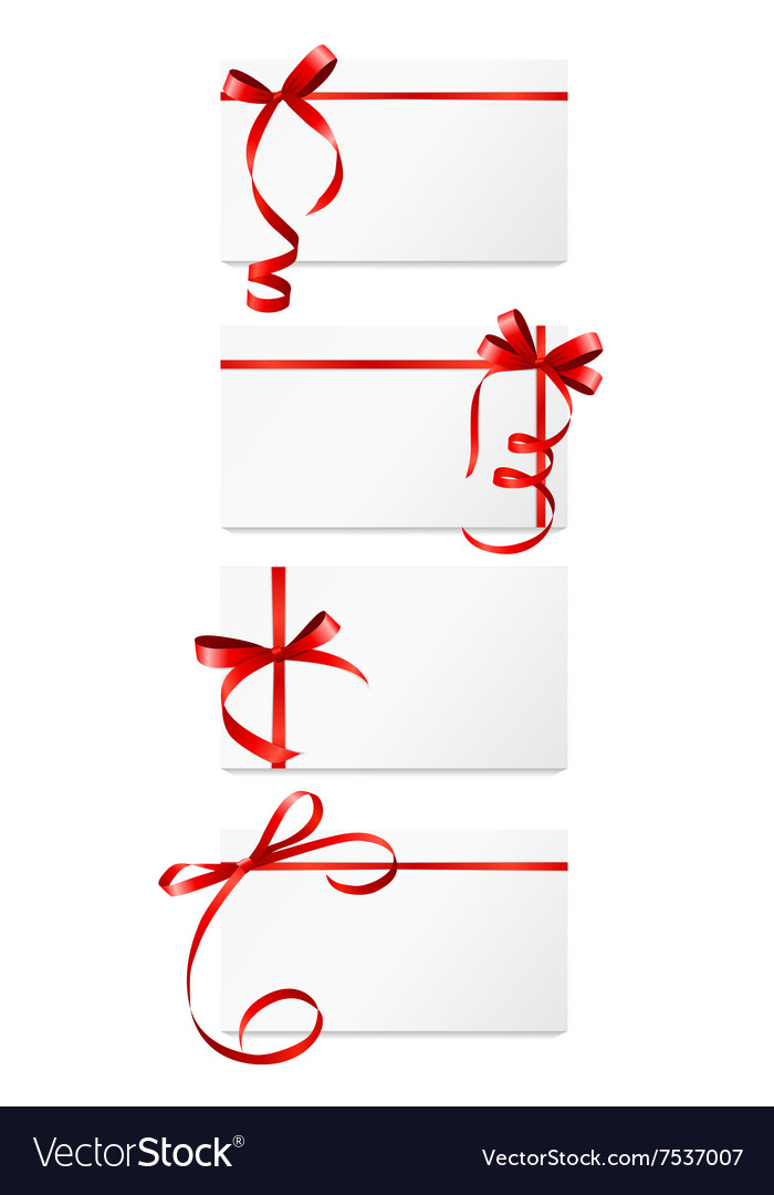 Gift card with red ribbon and bow set vector