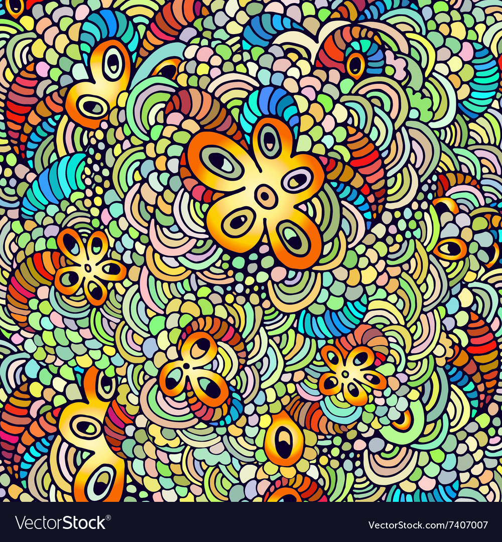 Hand drawn psychedelic vector