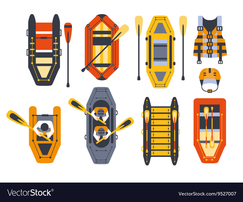 Rafting boats and gear set vector