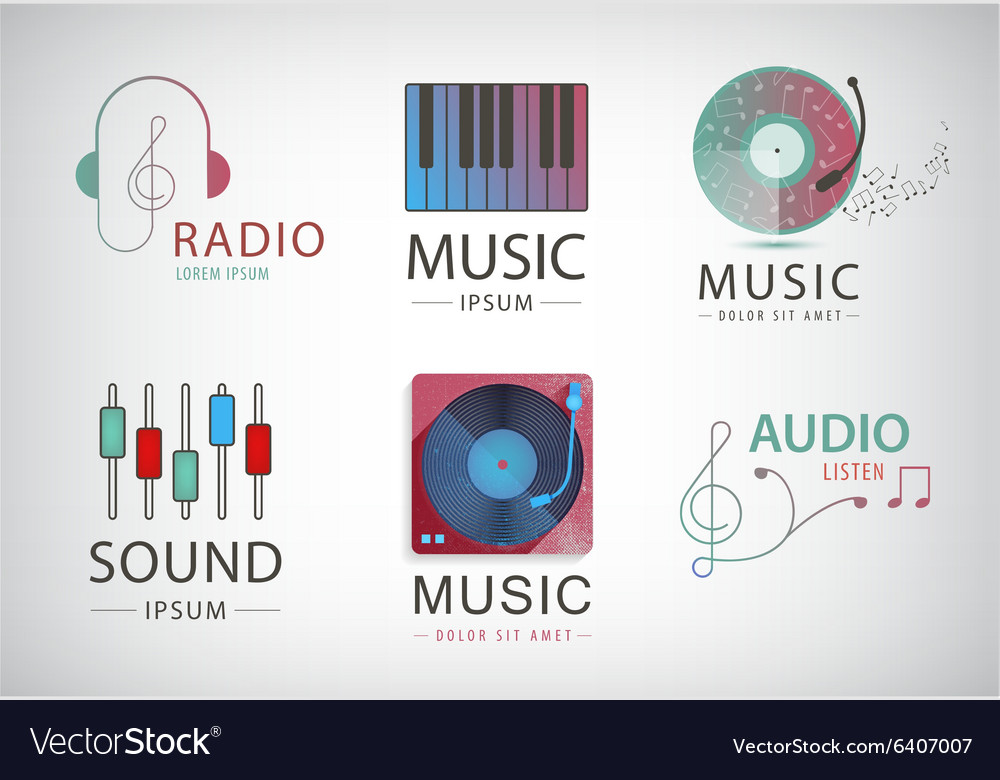 Set of music logos icons signs vector