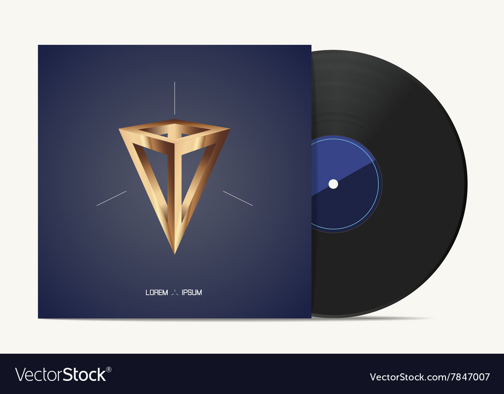 Vinyl music disk in cover box vector