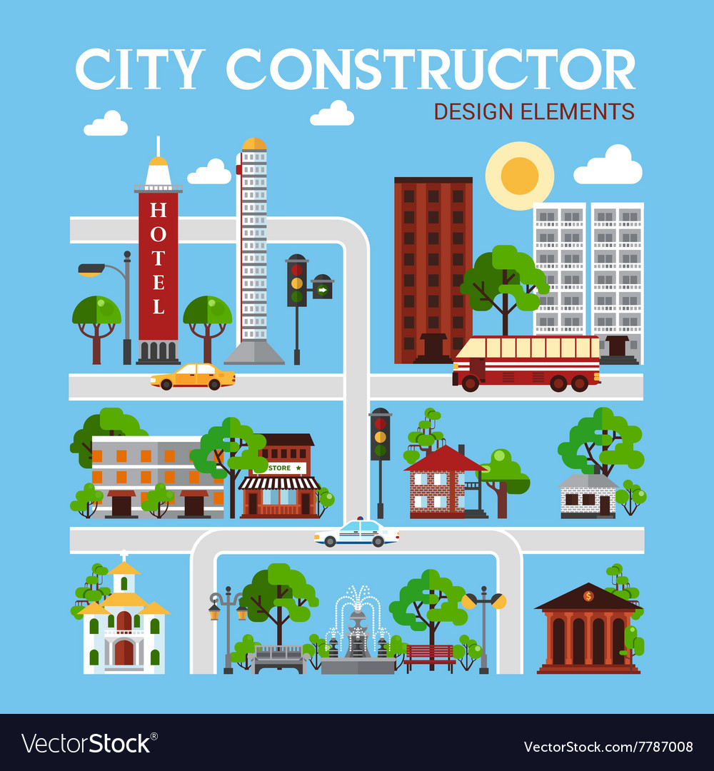 City constructor design elements vector