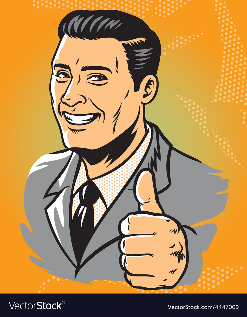Man thumb up vector