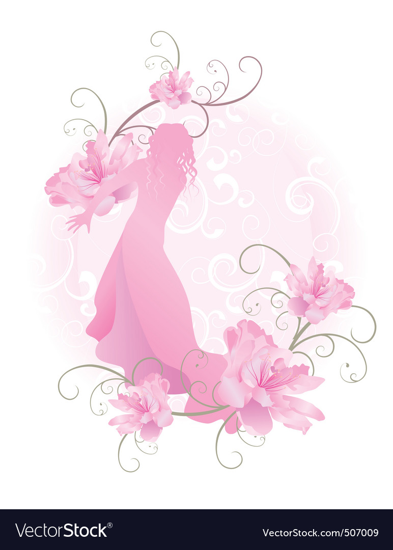 Pink girl with flowers vector