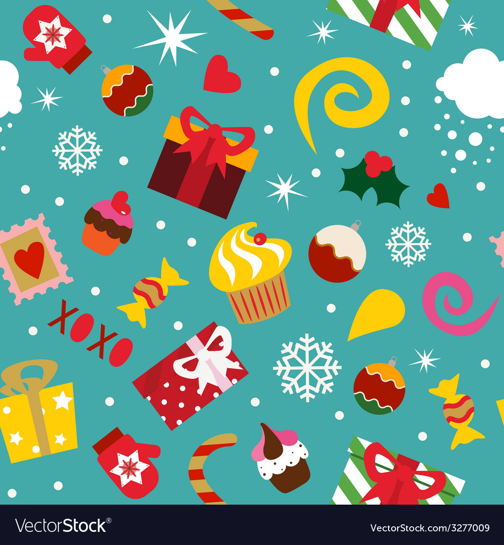 Seamless pattern christmas elements vector