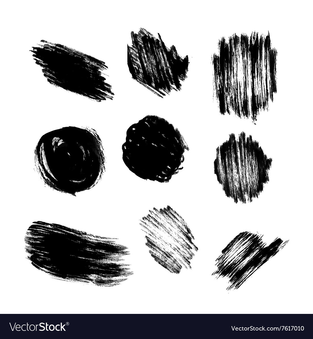 Set of grunge circle brush strokes vector