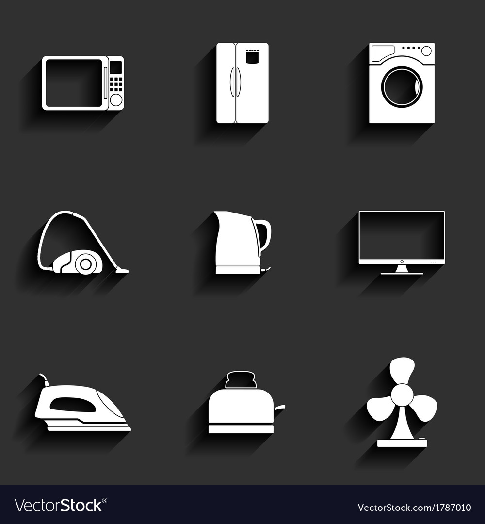 Set of household appliances icons vector