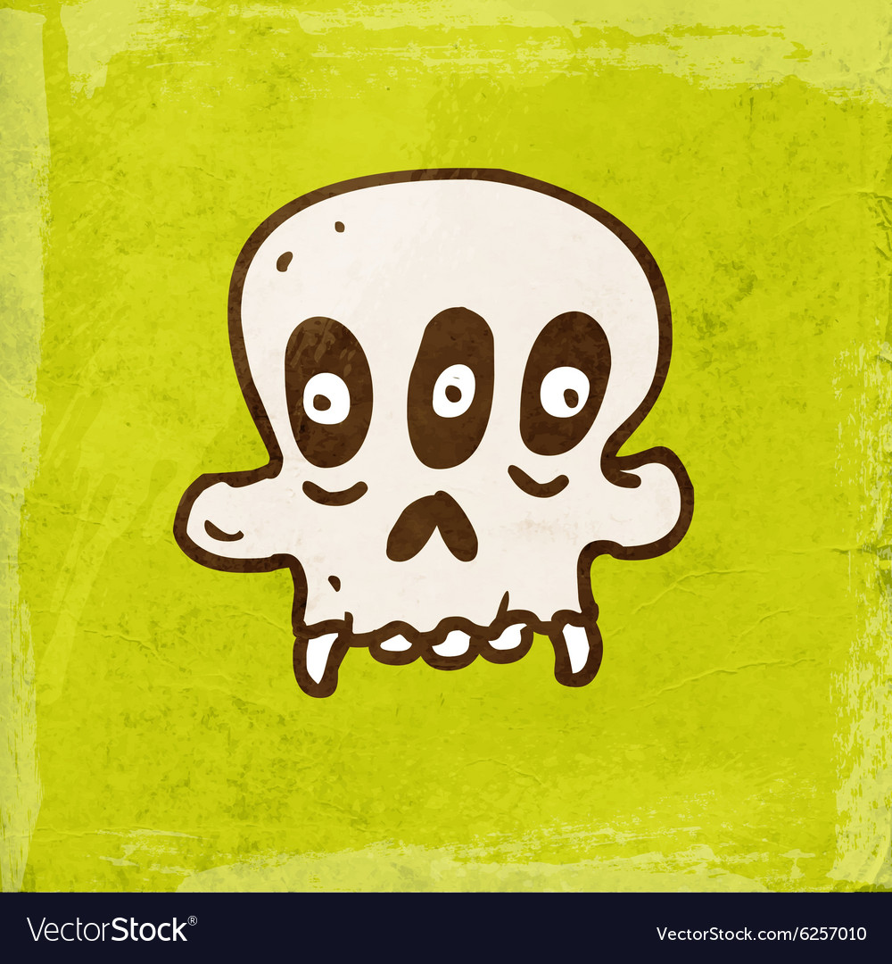 Three eyed skull cartoon vector