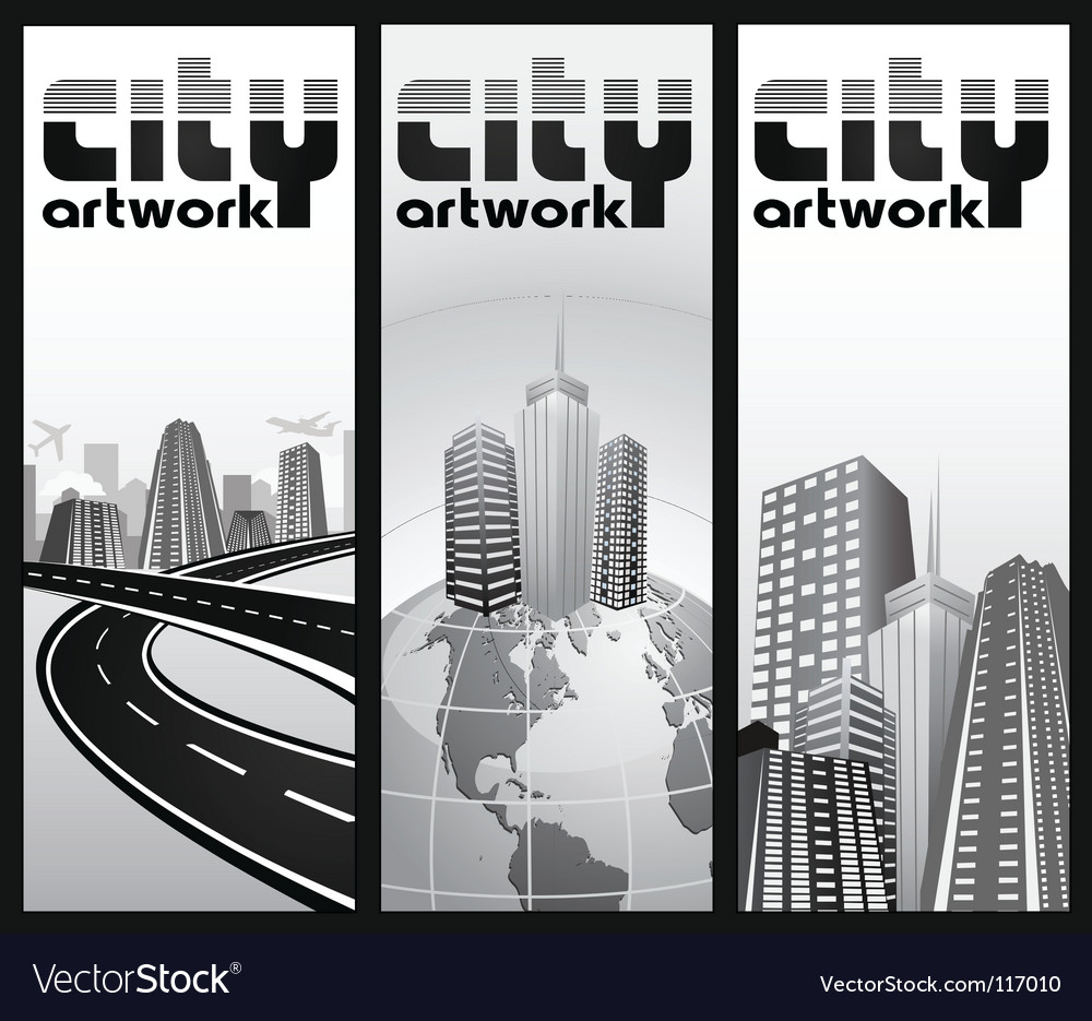 Vertical city banners vector