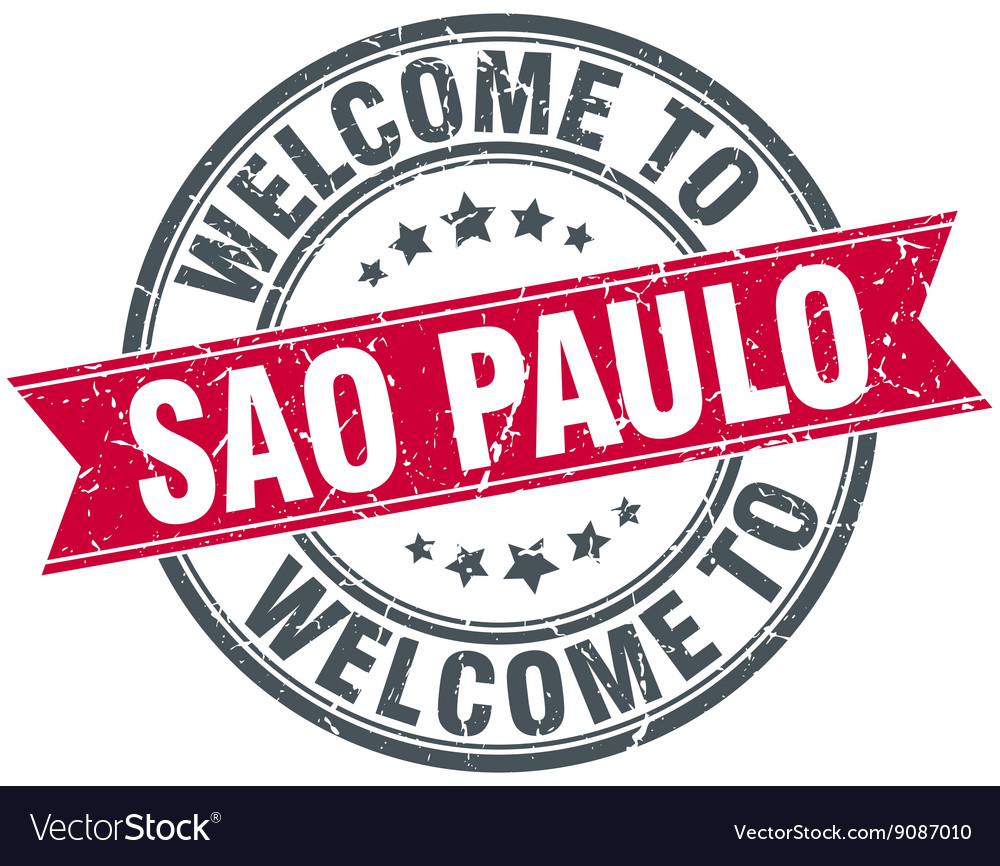 Welcome to sao paulo red round vintage stamp vector