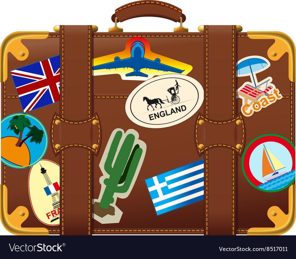 Brown suitcase with label vector