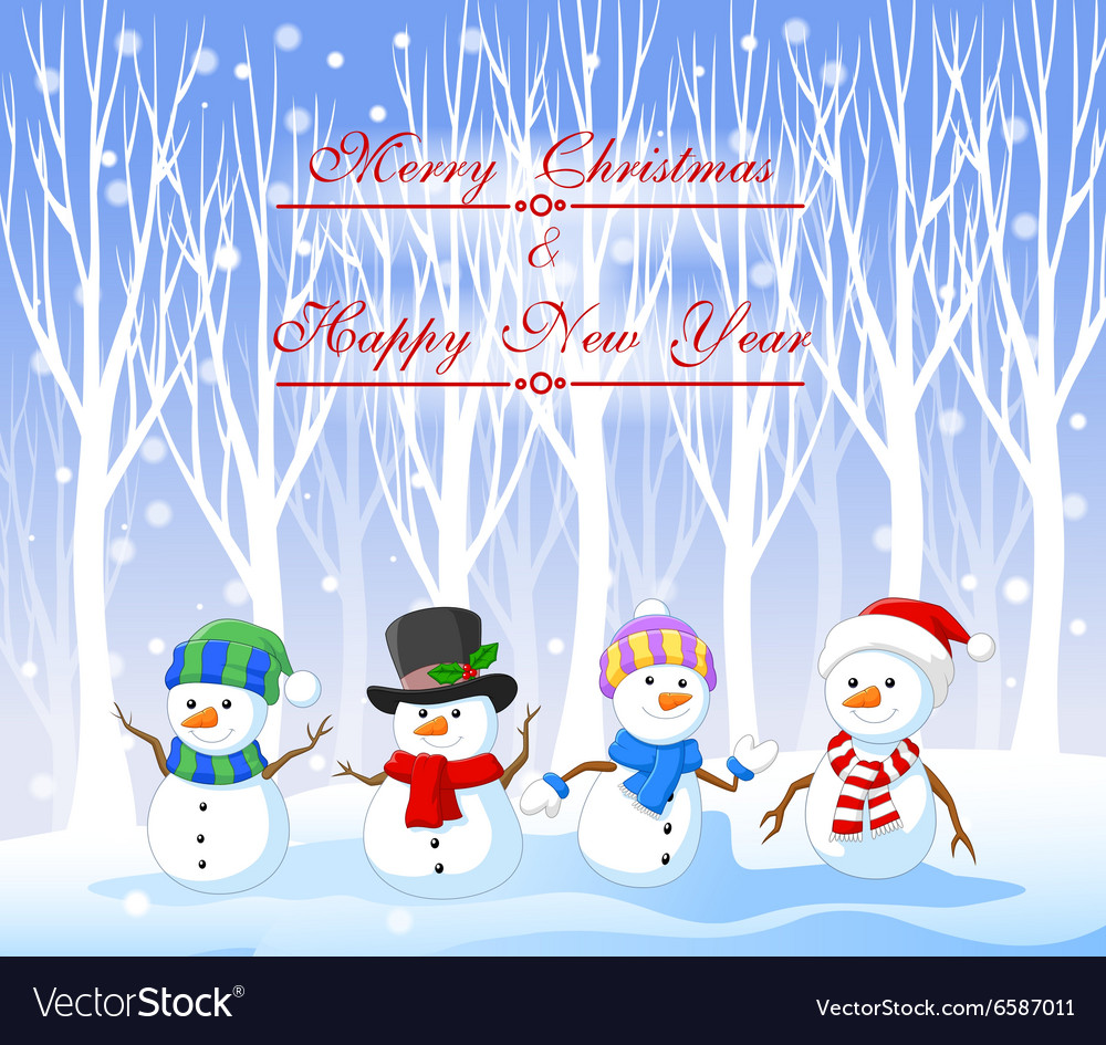 Cartoon funny snowman with winter background vector