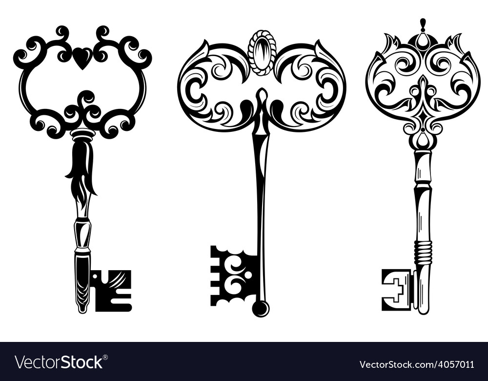 Collection of vintage keys vector