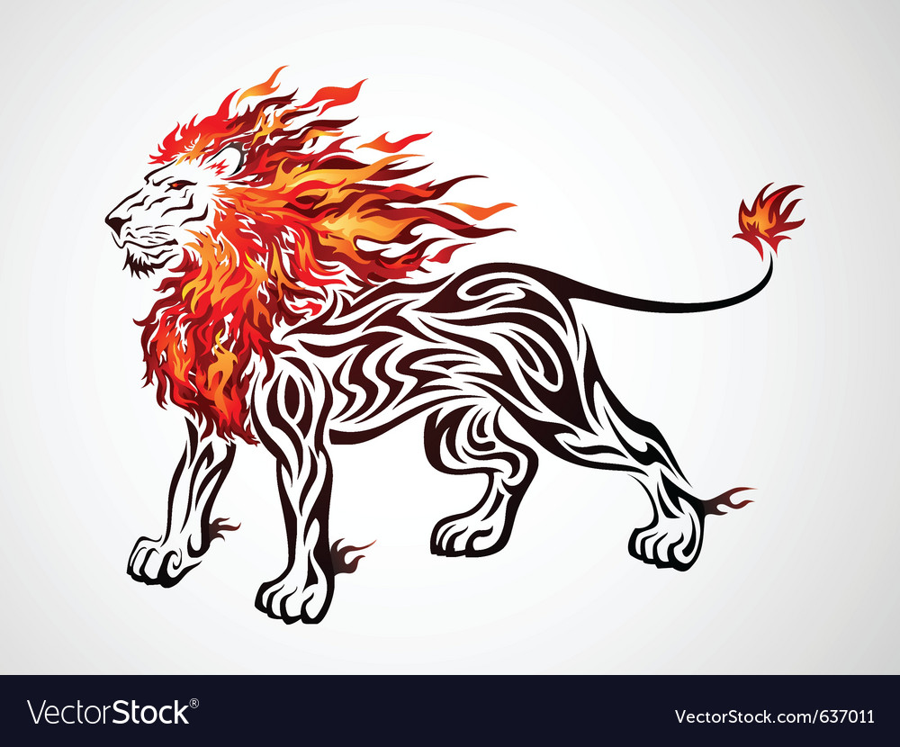 Tribal flame lion vector