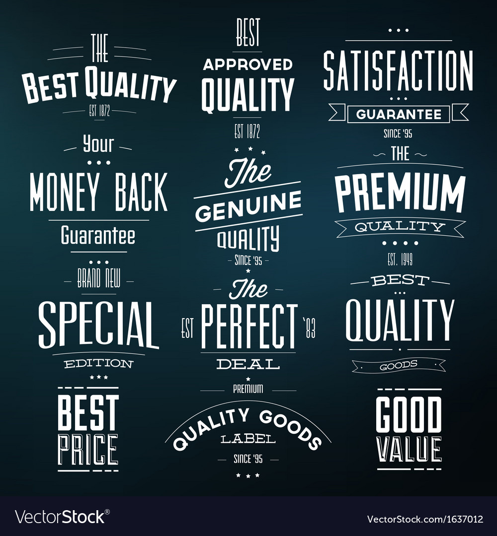 Collection of retro premium quality labels vector