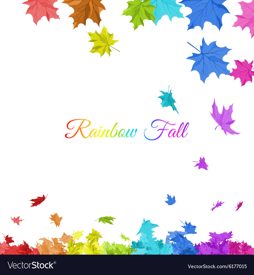 Rainbow maple leaves vector