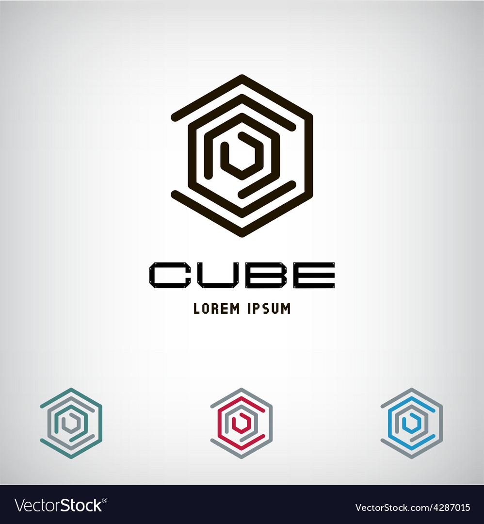 Technology business abstract cube logo design vector