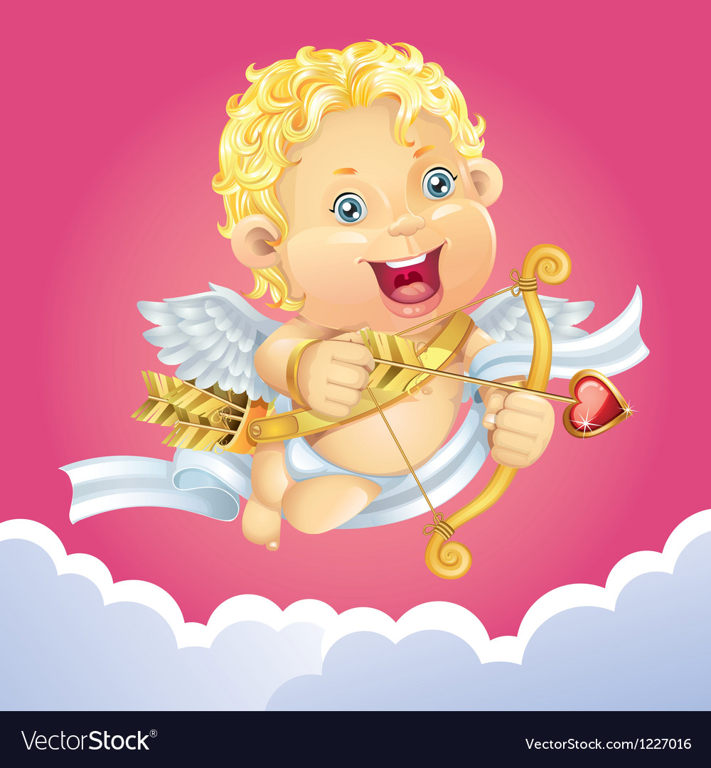Cupid flying on a cloud vector