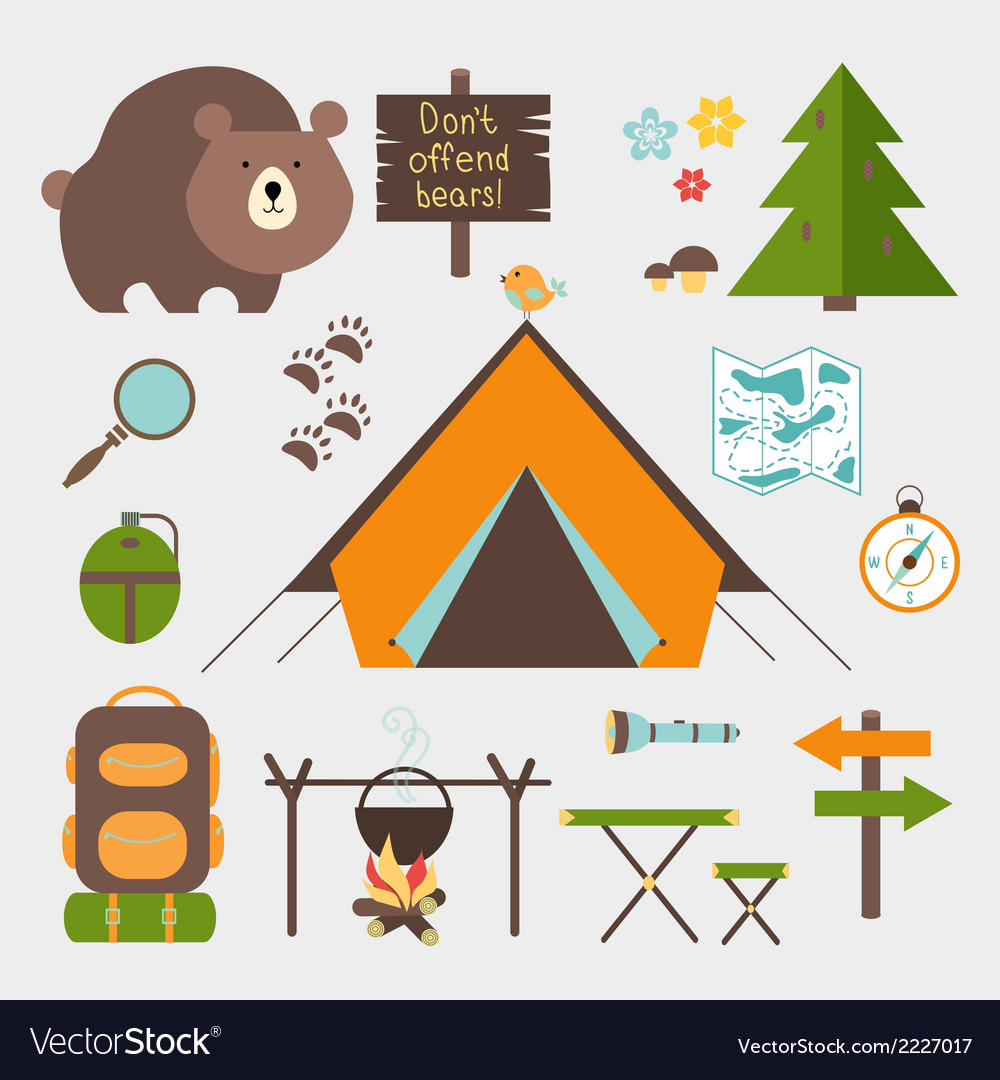 Icons forest camping set vector
