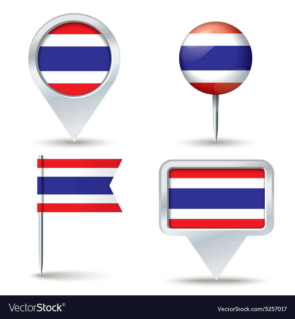 Map pins with flag of thailand vector
