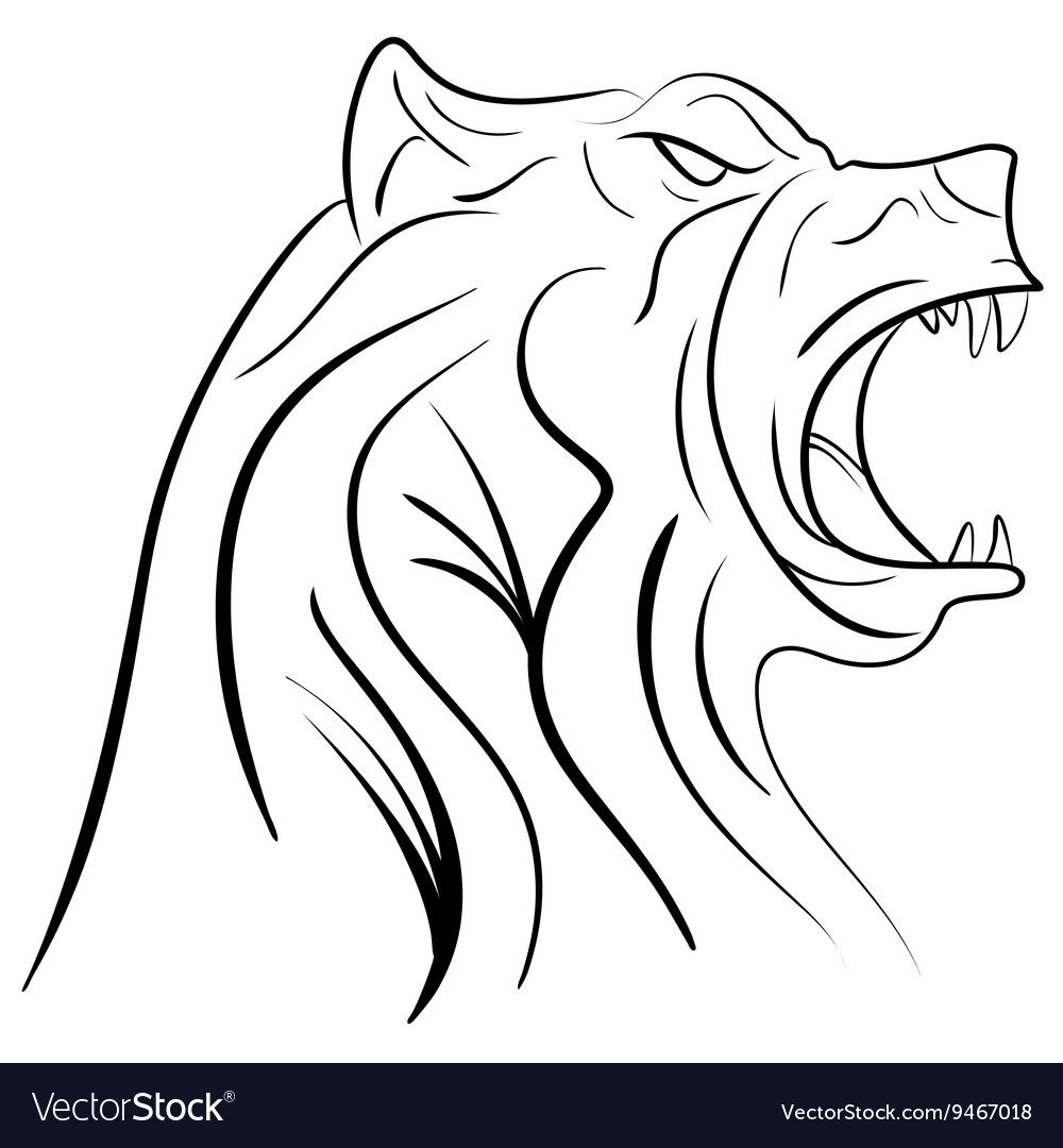 Ink hand drawn bear head vector
