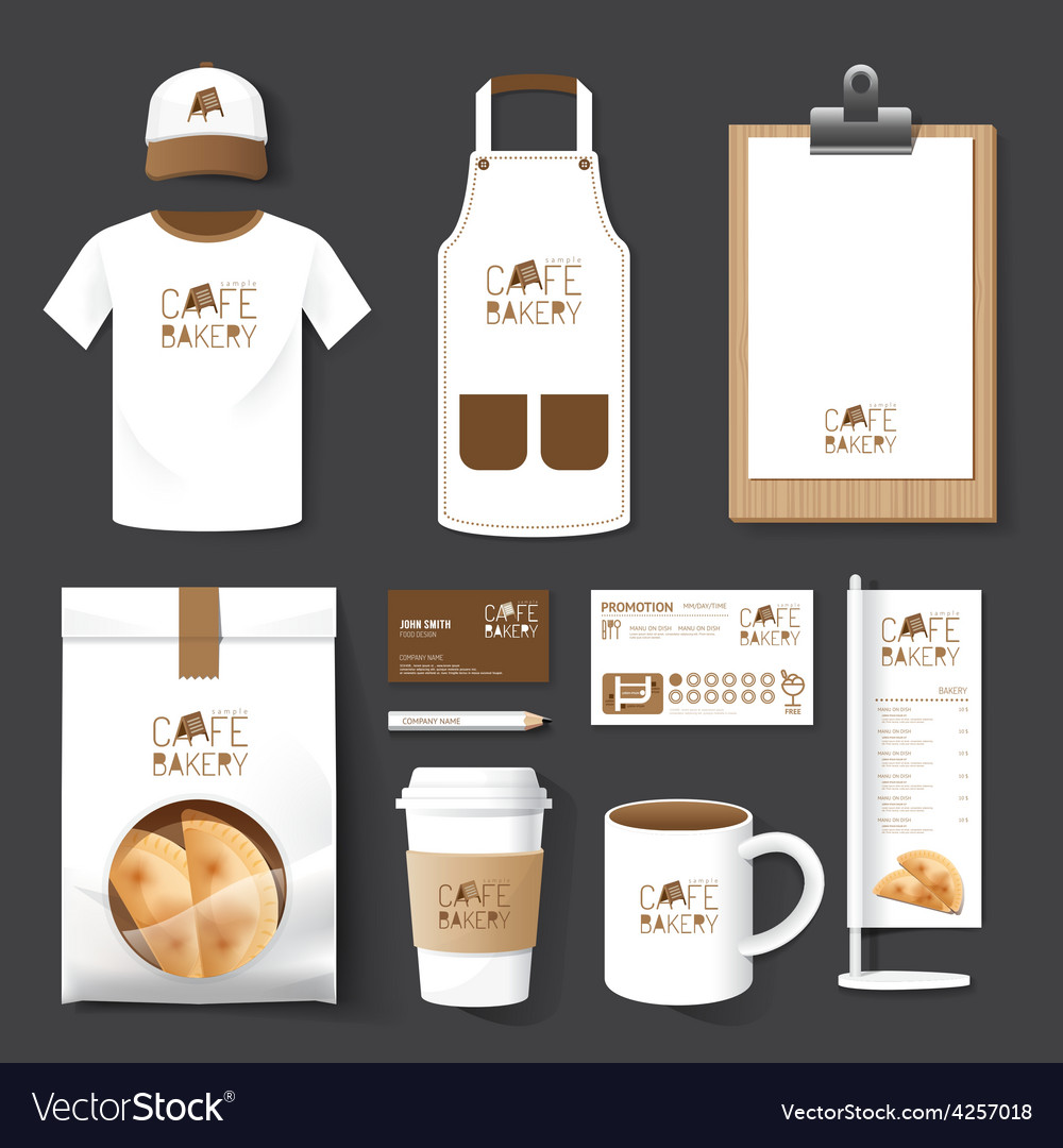 Restaurant cafe set flyer menu package tshirt cap vector