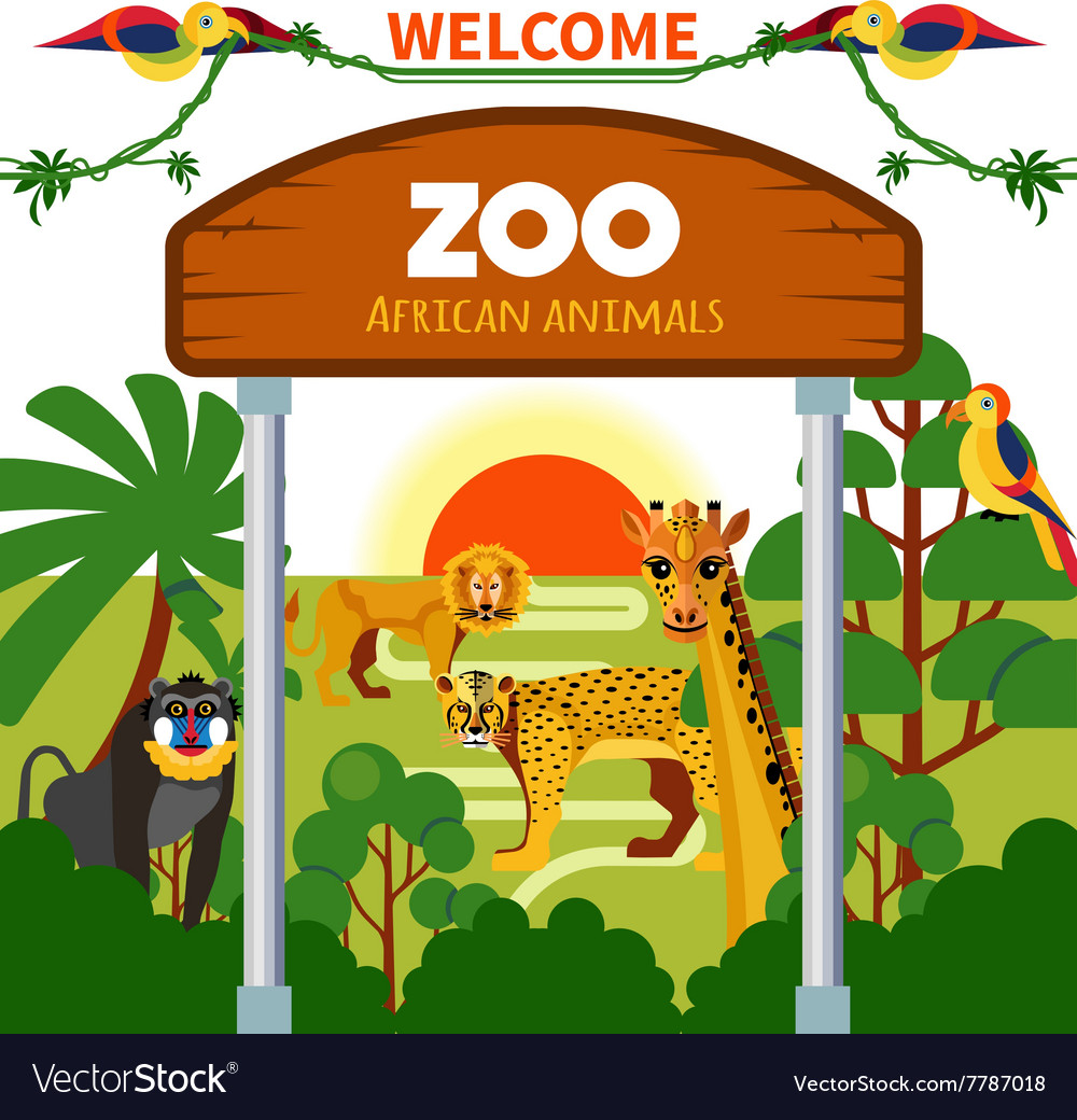 Zoo african animals vector