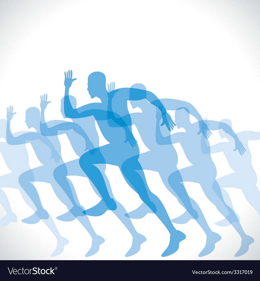 Blue men runner vector