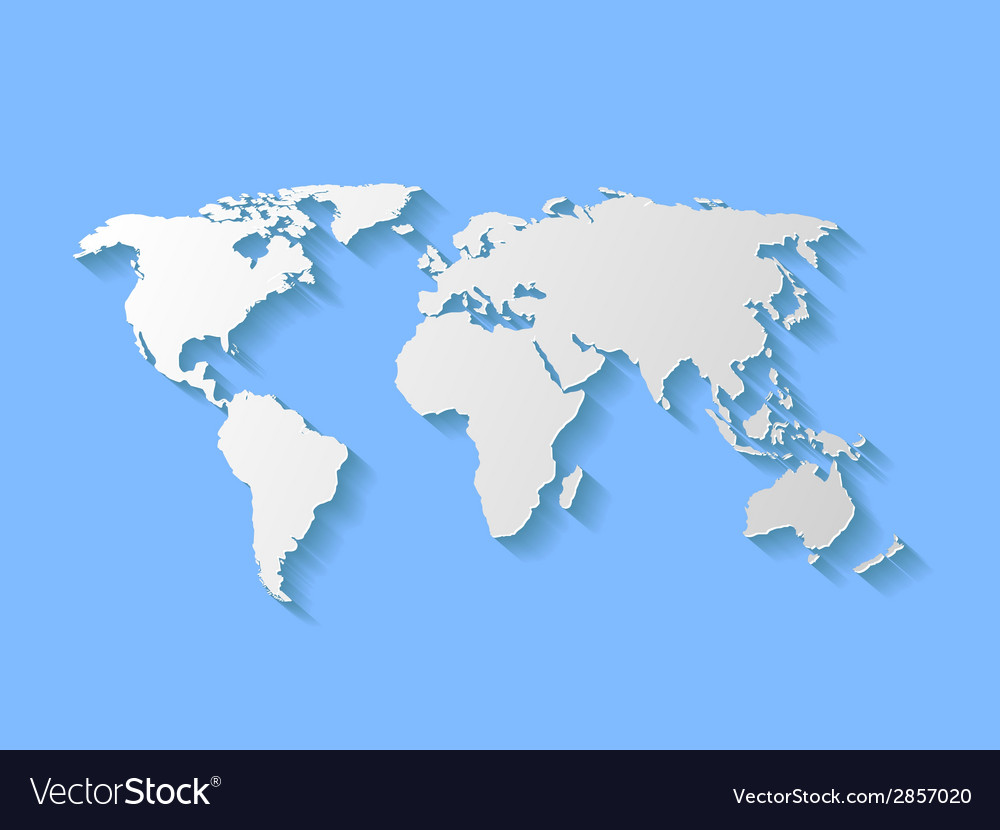 Decorative world map with shadow vector