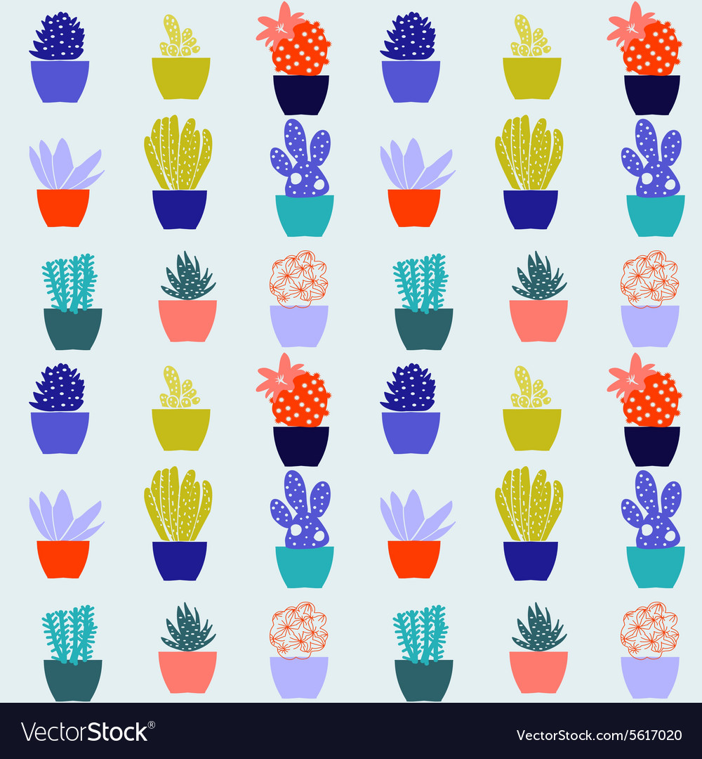 Flat pattern of cactus house plants in pots vector