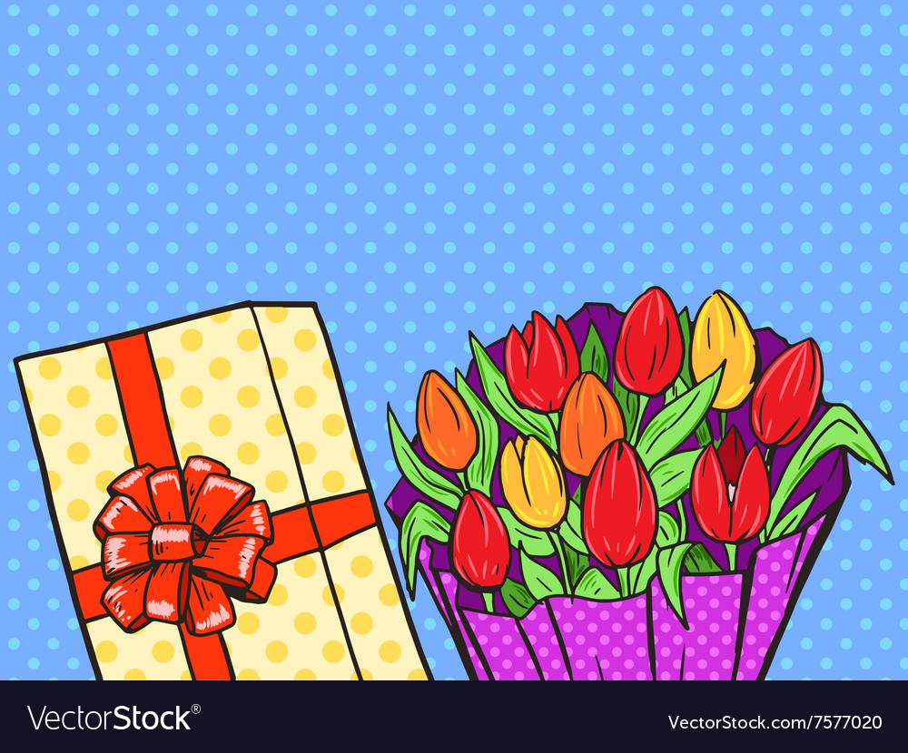 Flowers bouquet pop art style vector