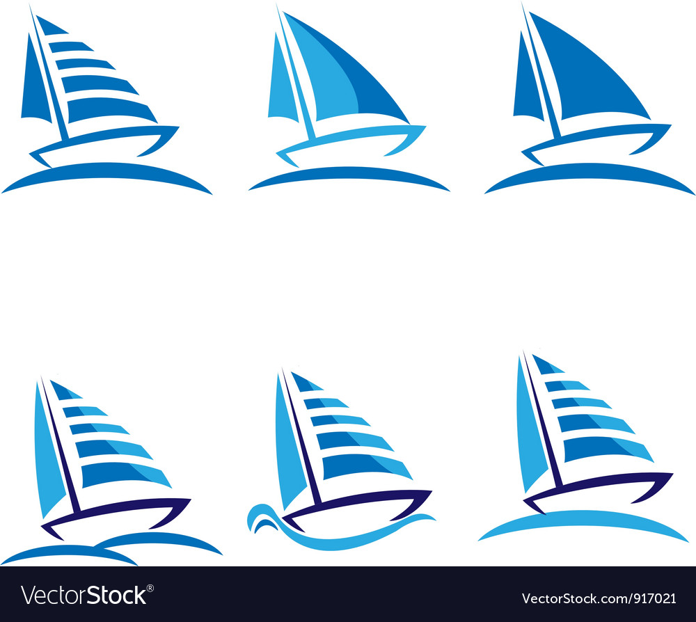 Set of boats logos vector