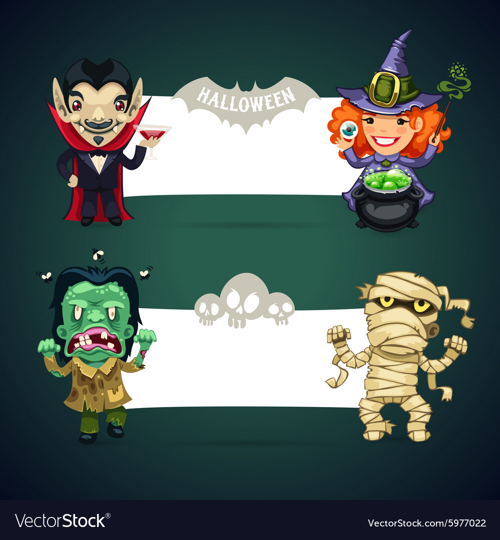 Set of halloween banners with monsters vector