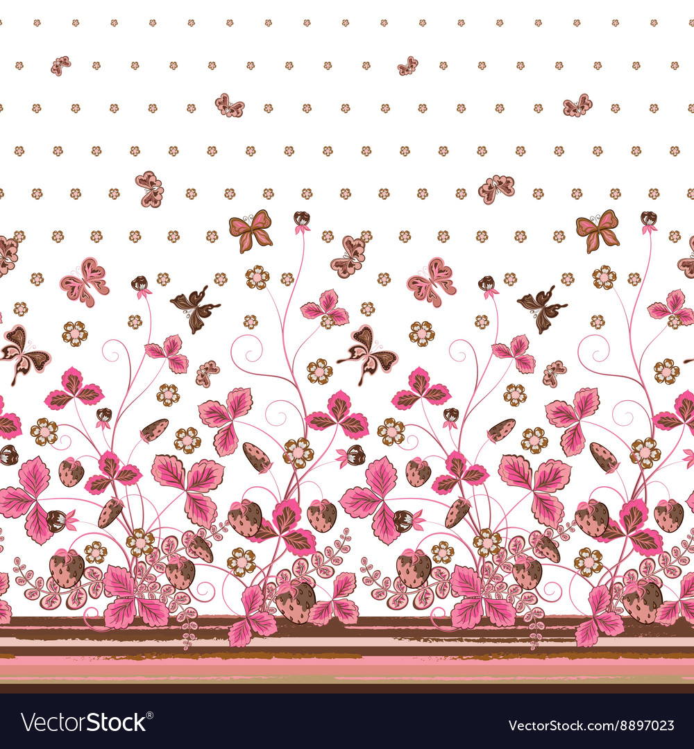 Vertical seamless pink brown floral pattern with vector