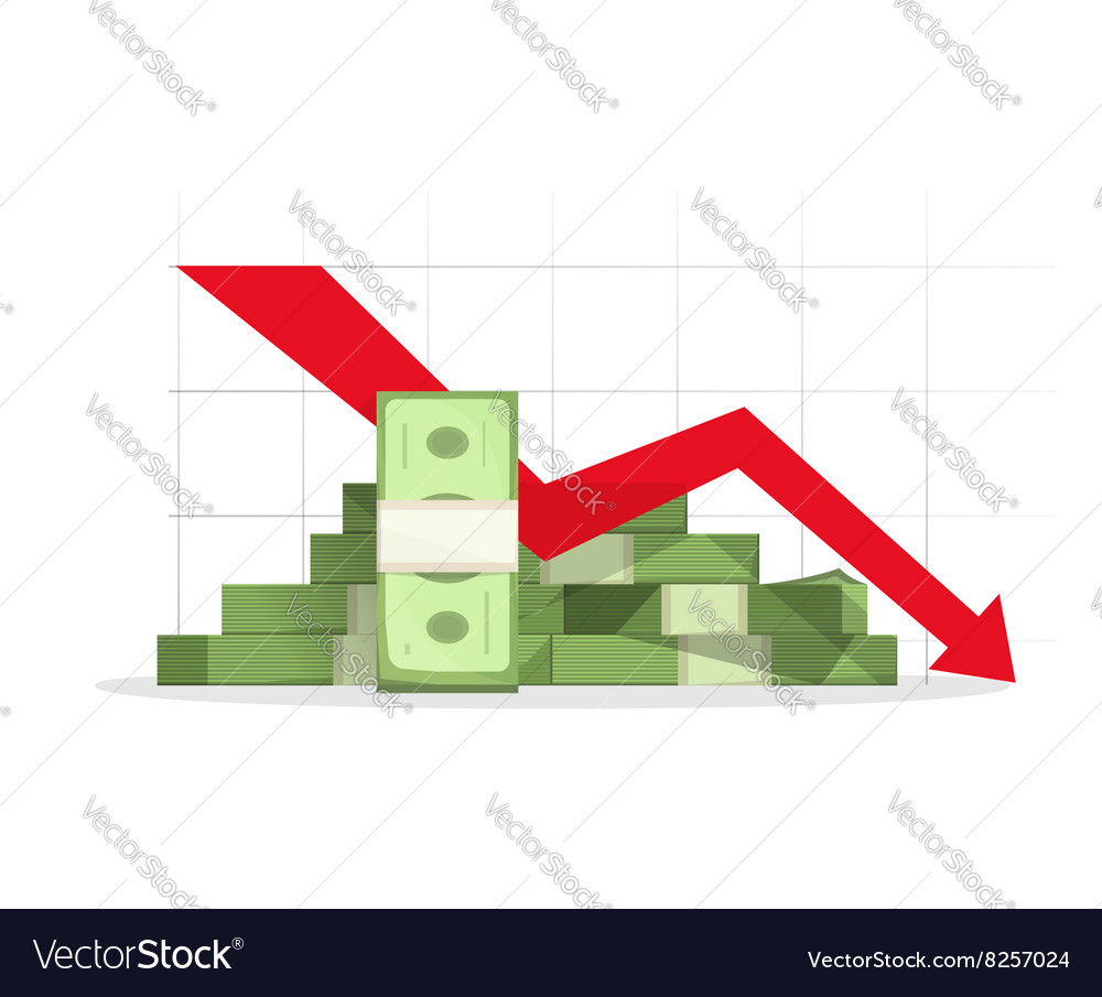 Pile of cash red recession graph with downward vector