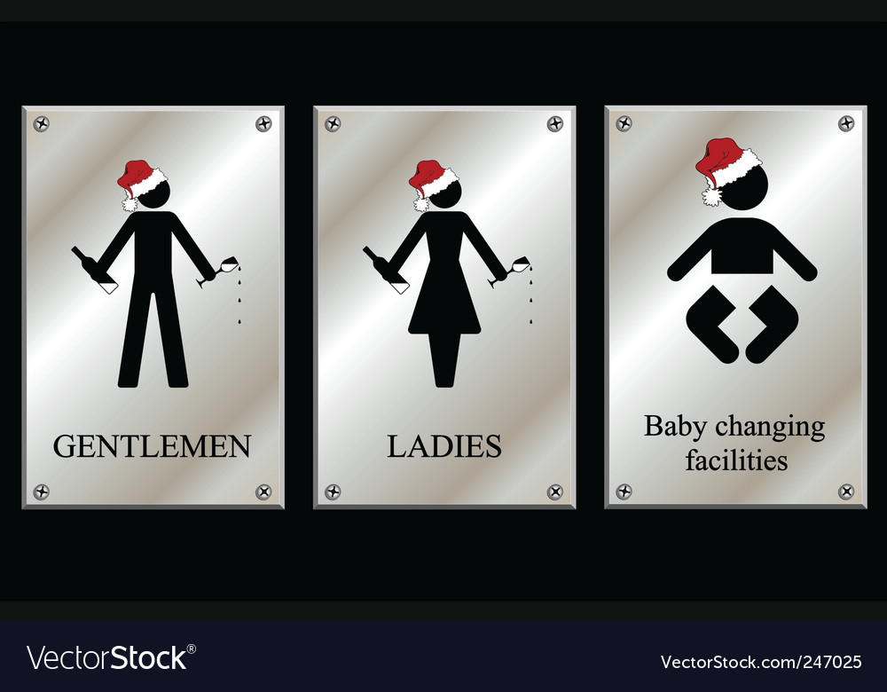 Christmas restroom sign collection vector