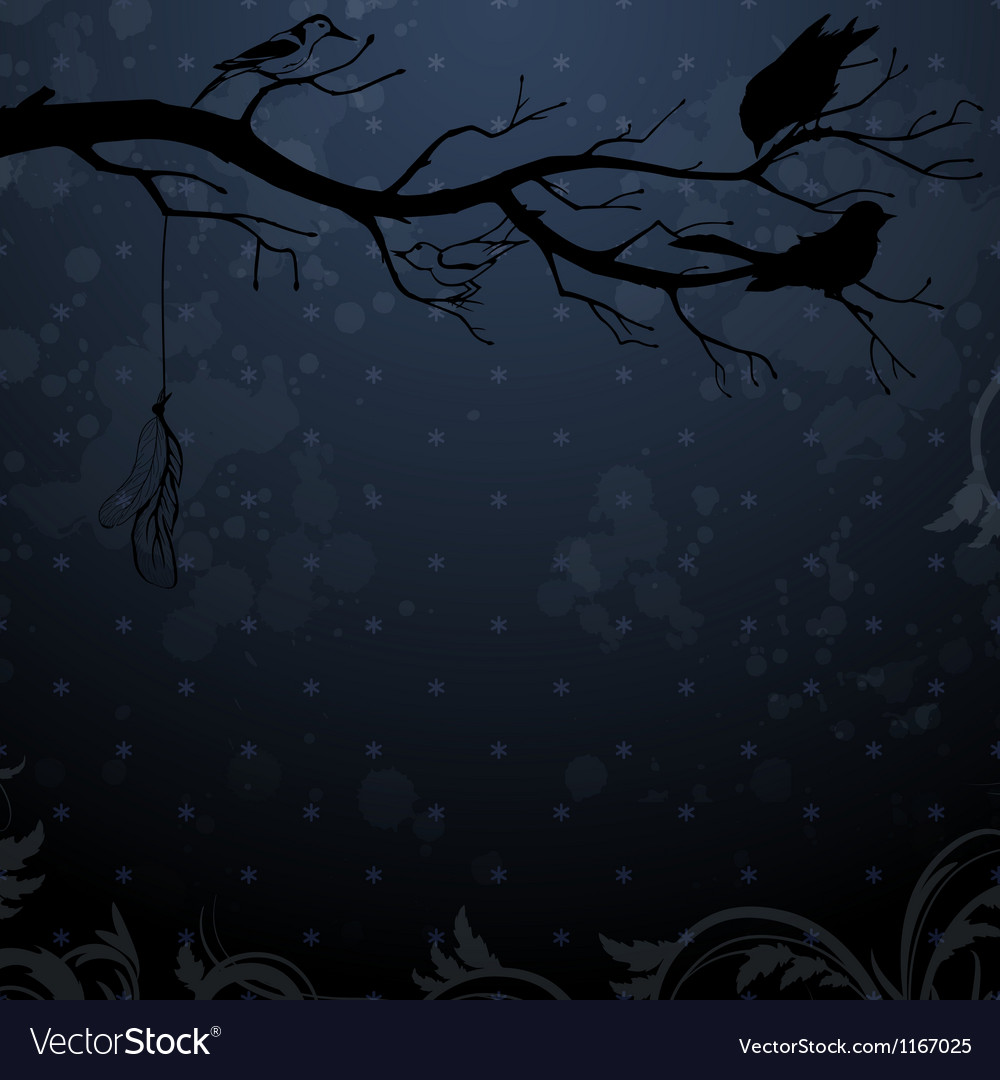 Dark winter background with tree branch and birds vector