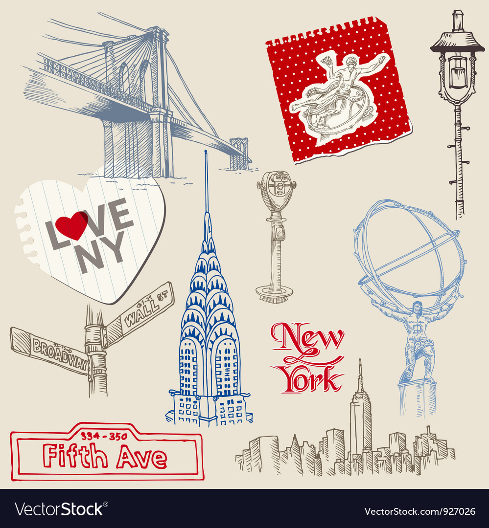 Scrapbook design elements  new york doodle set vector