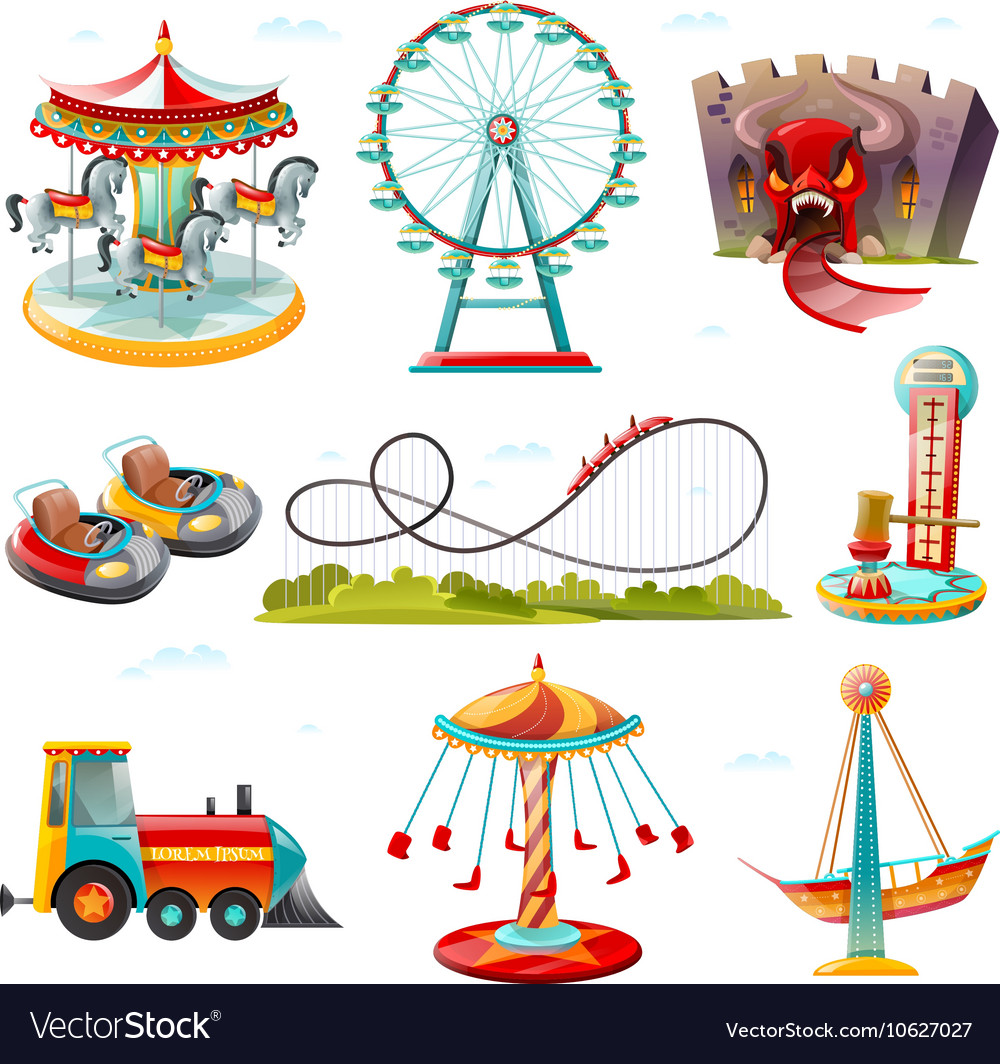 Amusement park attractions flat icons set vector