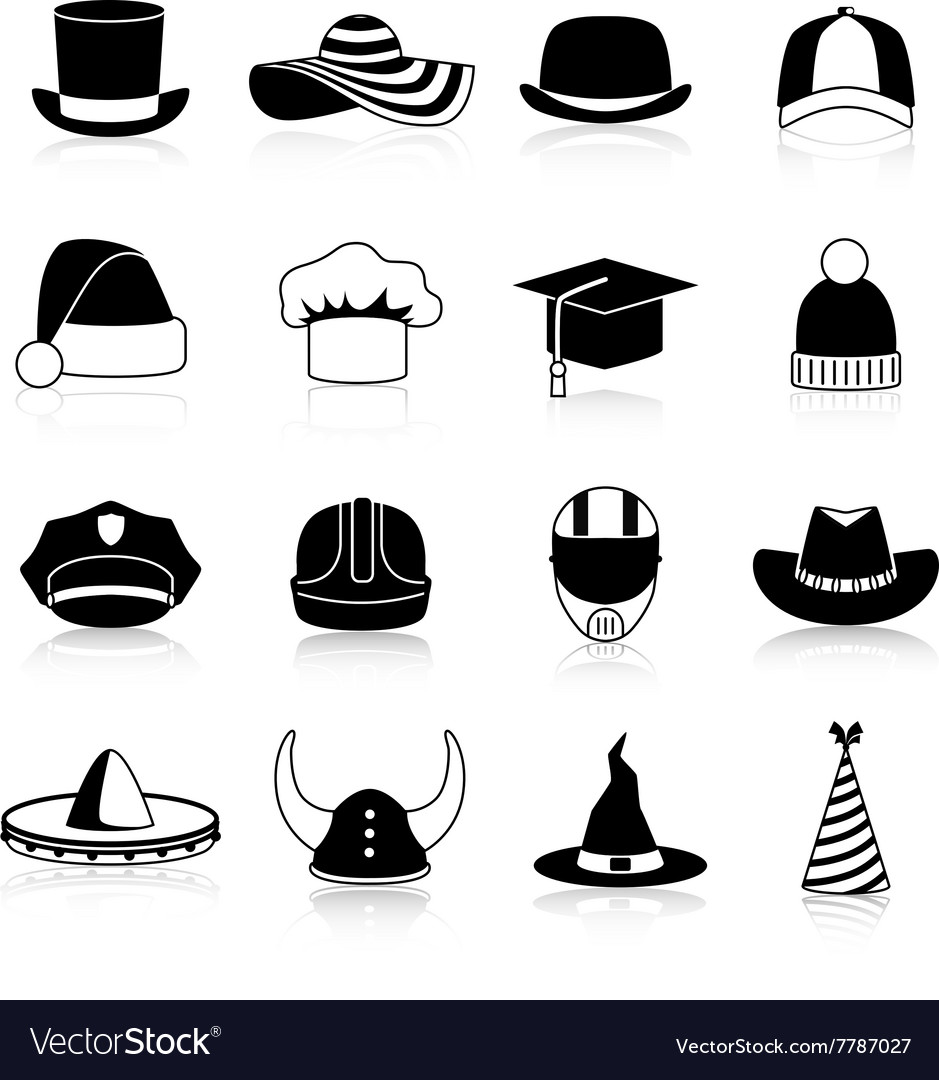 Hats and caps black icons vector