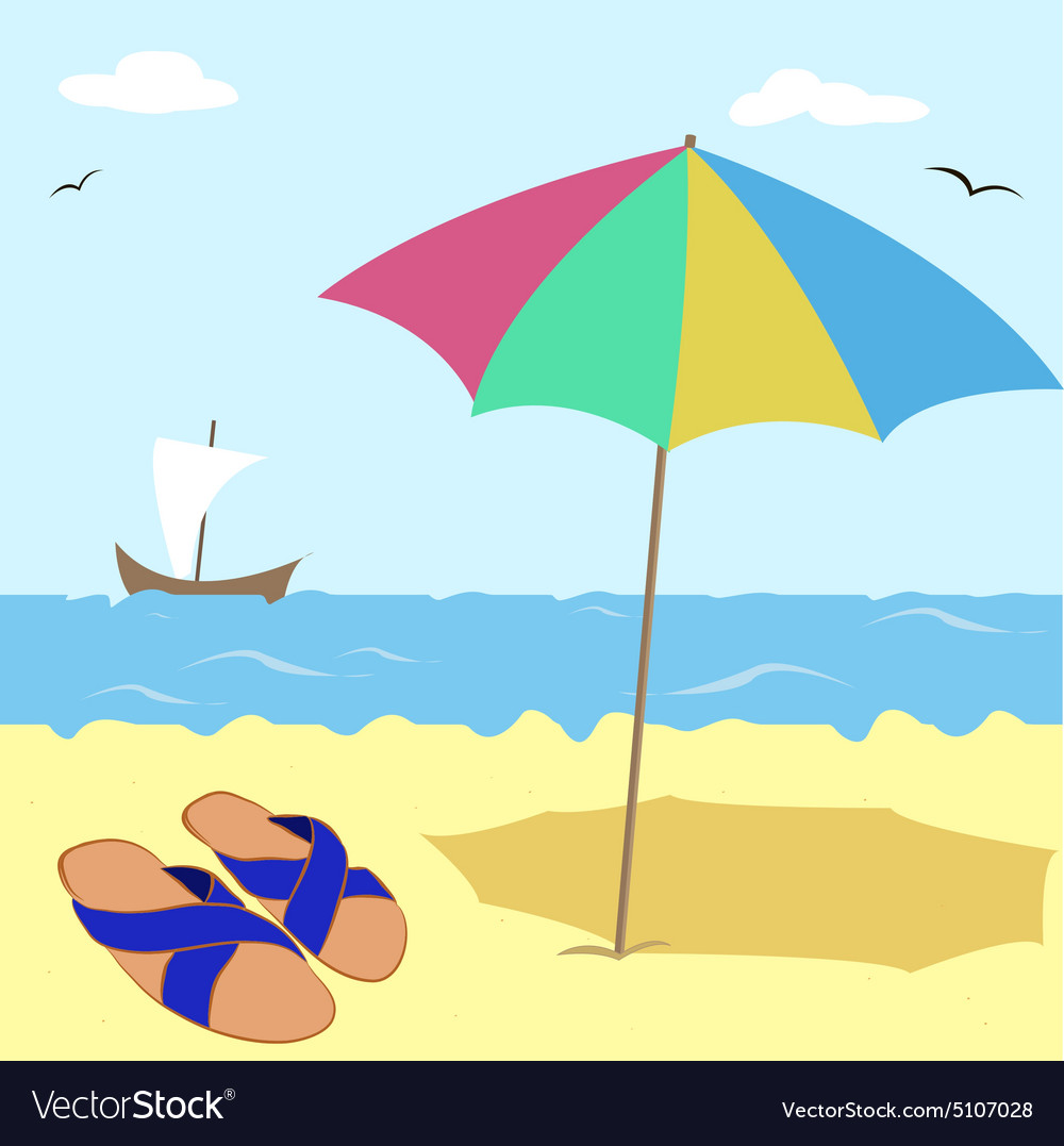 Shale under an umbrella by the sea vector