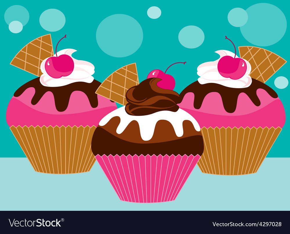 Three pink cupcakes vector