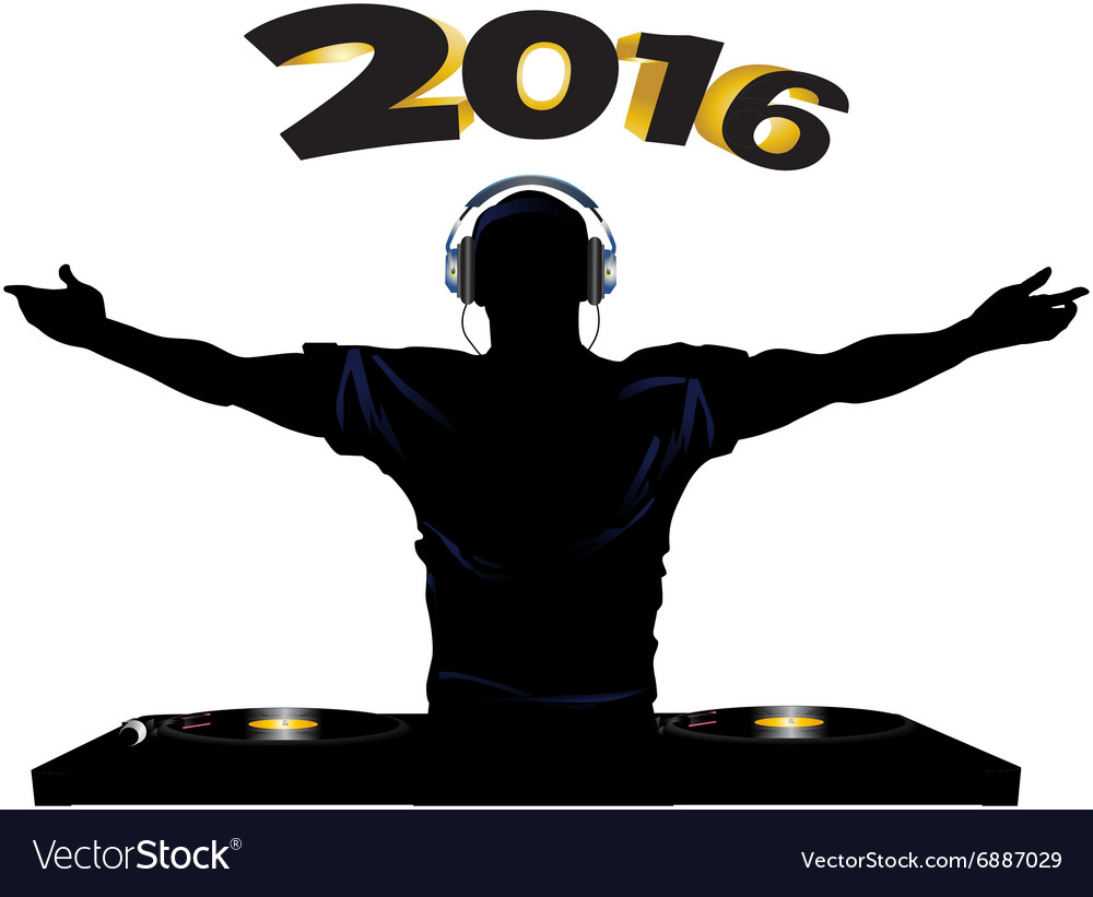 Dj and record decks party 2016 vector