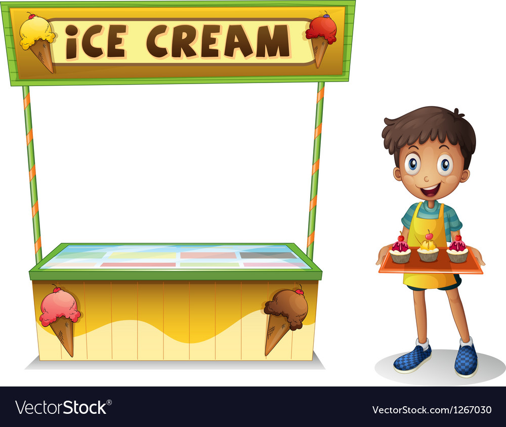 A boy selling ice cream for summer vector