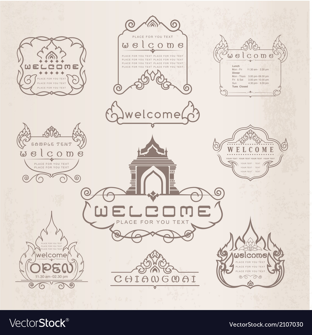 Thai art pattern vintage design elements and frame vector