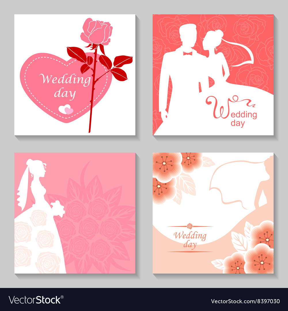 Wedding card set vector
